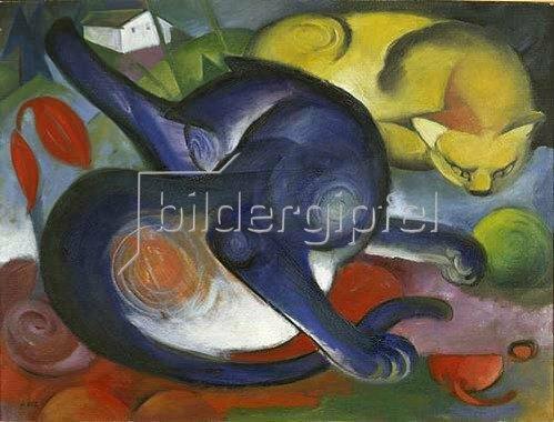 Franz Marc: Zwei Katzen, blau und gelb.