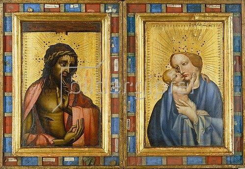 Böhmischer Meister: Christus als Schmerzensmann und Maria mit dem Kind. Diptychon.