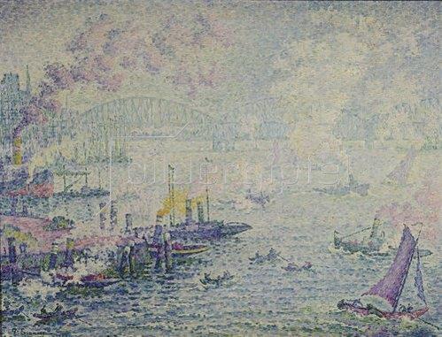 Paul Signac: Schiffe im Hafen.
