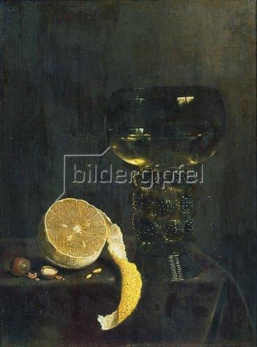 Jan III. van de Velde: Weinglas und angeschnittene Zitrone. 1649.
