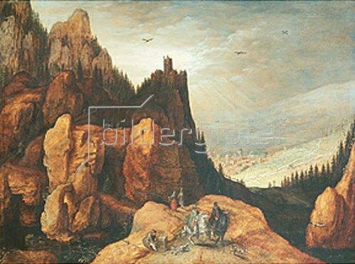 Tobias Verhaecht: Alpenlandschaft mit Burg.