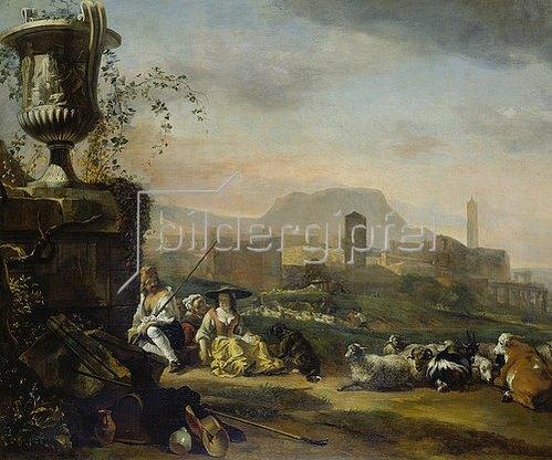 Jan Weenix: Römische Landschaft mit Hirten und Herde.