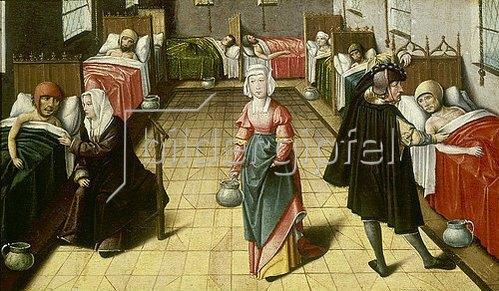 Niederländisch: Mittelalterlicher Krankensaal. Aus: Die sieben Werke der Barmherzigkeit.