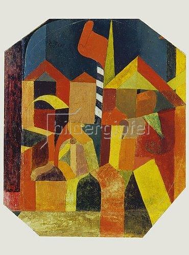 Paul Klee: Architektur mit der roten Fahne. 1915.