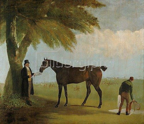 Jacques Laurent Agasse: Malcolm Greame mit einem Vollblutpferd. 1816.