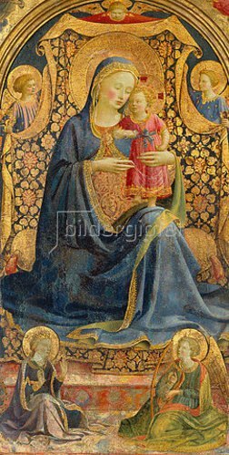 Fra Angelico: Thronende Maria mit dem Jesuskind, von Engeln umgeben.
