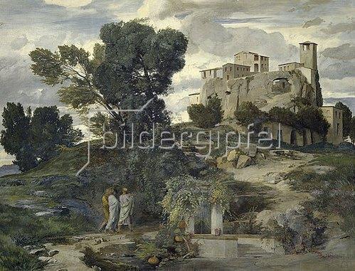 Arnold Böcklin: Der Gang nach Emmaus (Rechtes Bild der Fresken aus dem Gartensaal des Ratsherrn Karl Sarasin-Sauvain). 1868