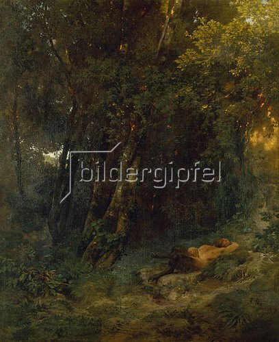 Arnold Böcklin: Waldlandschaft mit ruhendem Pan. 1855.