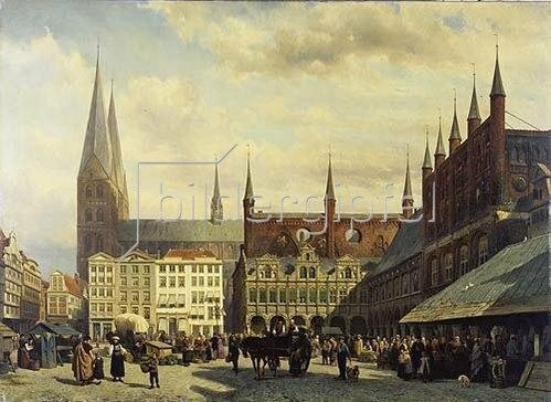 Cornelius Springer: Der Marktplatz zu Lübeck. 1870