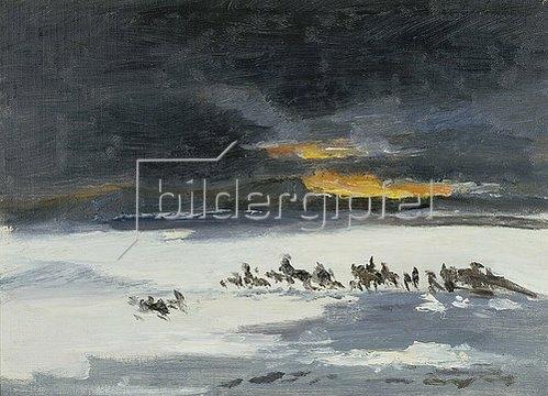 Frank Buchser: Reitende Indianer im Schneesturm.