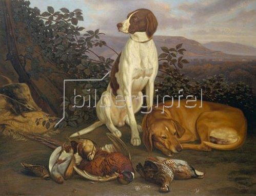 Ludwig Burckhardt: Jagdhunde mit Wild. 1860.