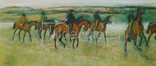 Edgar Degas: Rennpferde beim Ausritt.