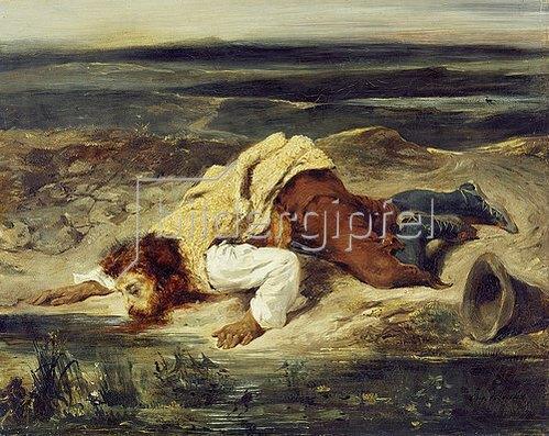 Eugene Delacroix: Römischer Hirte, an einer Quelle trinkend. Um 1825