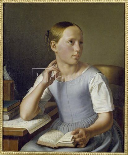 Sebastian Gutzwiller: Lesendes Mädchen. 1842.
