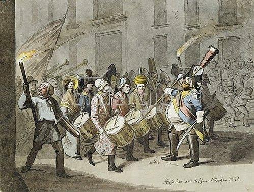 Hieronymus Hess: Morgenstraich bei der Baseler Fasnacht. 1843