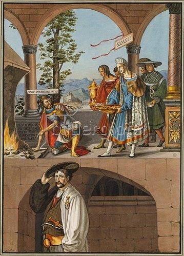 Hieronymus Hess: Manius Curius Dentatus weist die Geschenke der Samniten zurück. 1817 (Kopie nach dem Wandbild Hans Holbeins im Basler Grossratssaal von 1521/22)