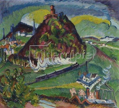 Ernst Ludwig Kirchner: Königstein mit Eisenbahn.