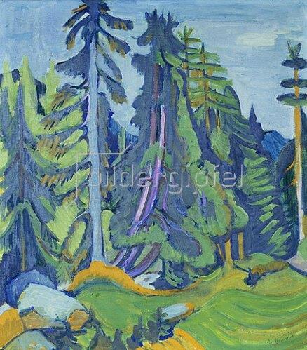 Ernst Ludwig Kirchner: Bergwaldbäume.