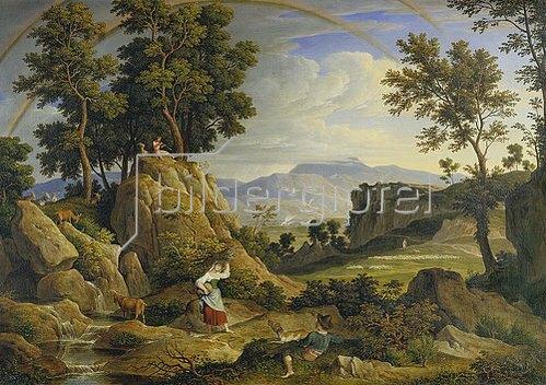 Joseph Anton Koch: Landschaft bei Olevano mit Regenbogen. 1823/24