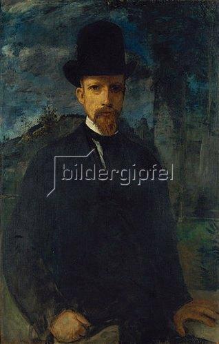 Hans von Marées: Selbstbildnis mit hohem Hut. Um 1874.