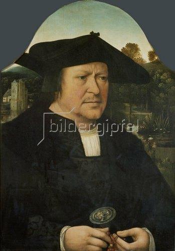 Quinten Massys: Bildnis eines unbekannten Mannes mit einem Rosenkranz.
