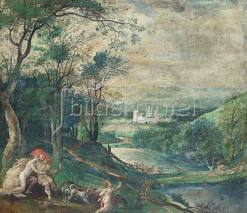 Niederländischer Meister: Venus und Adonis in waldiger Landschaft vor Schloss Beersel.