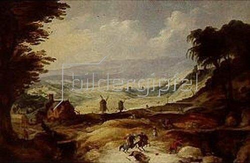 Joos de Momper d.J.: Landschaft mit zwei Mühlen.