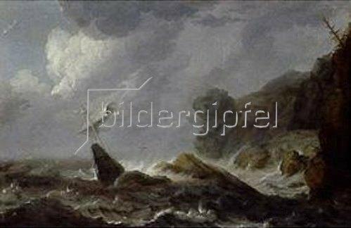 Allaert van Everdingen: Seesturm in einer Felsenbucht.