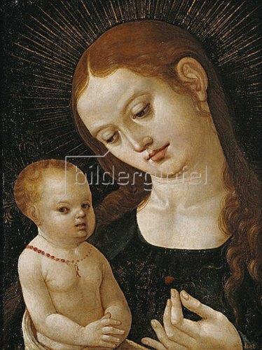 Oberdeutsch: Maria, dem Jesuskind eine Erdbeere reichend.