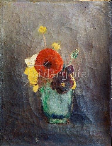 Odilon Redon: Blumenstrauss mit Mohnblumen in einer grünen Vase.