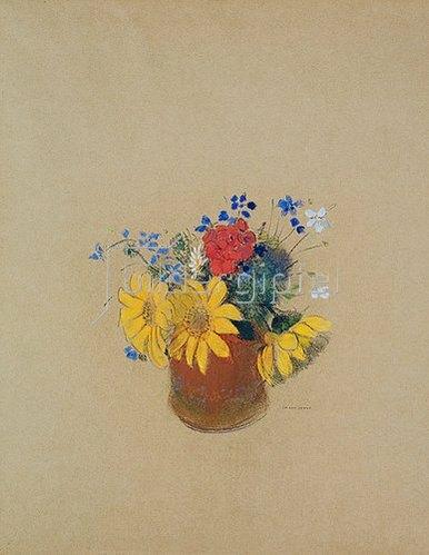 Odilon Redon: Blumenstillen aus Sonnenblumen und Geranien in einer braunen Vase.