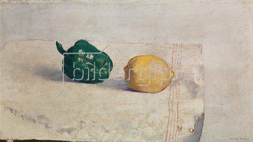 Odilon Redon: Stilleben mit Zitrone und Paprikaschote.