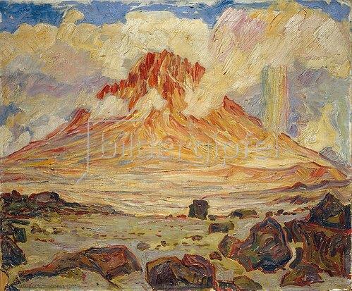 Walter von Ruckteschell: Berggipfel in Wolken.