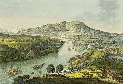 Johann Niklaus Schiel: Flusslandschaft in der Umgebung von Bern 1777.