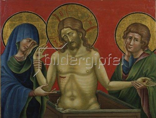 Nicoletto Semitecolo: Jesus als Schmerzensmann mit Maria und Johannes.