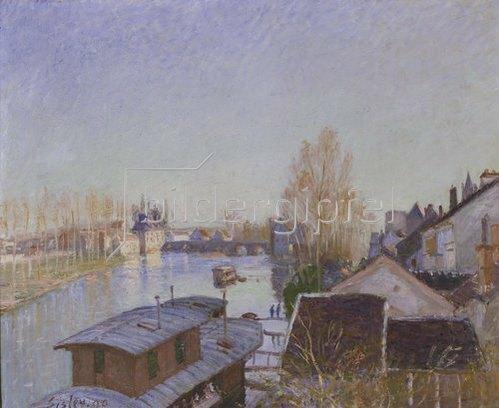 Alfred Sisley: Am Ufer des Loing in Moret. 1890.