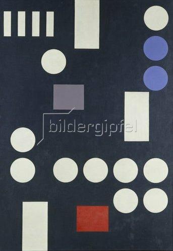Sophie Taeuber-Arp: Komposition mit Rechtecken und Kreisen auf schwarzer Leinwand. 1931