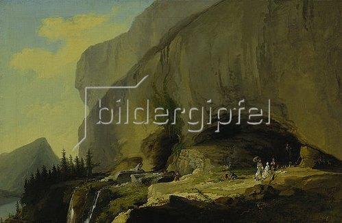 Kaspar Wolf: Reisegesellschaft vor der Beatushöhle. 1776.
