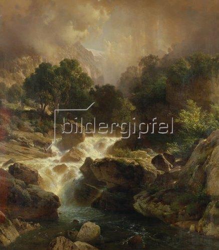 Johann Gottfried Steffan: Landschaft mit Wasserfall. 1861.