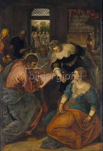Tintoretto (Jacopo Robusti): Christus bei Maria und Martha. Um 1580