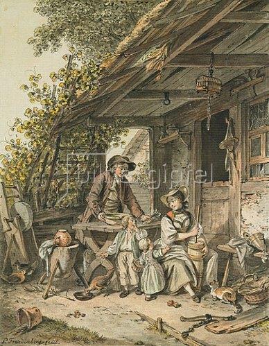 Sigmund Freudenberger: Berner Bauernfamilie vor dem Haus.