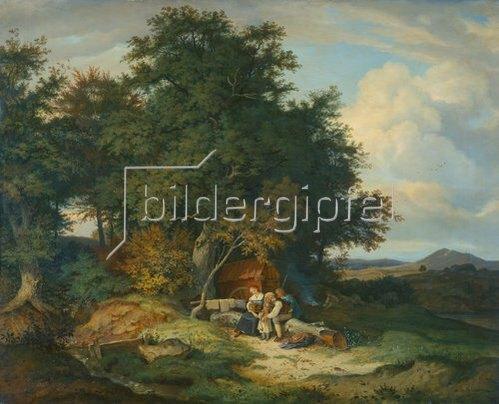Ludwig Richter: Herbstlicher Wald mit Schäferfamilie. 1837