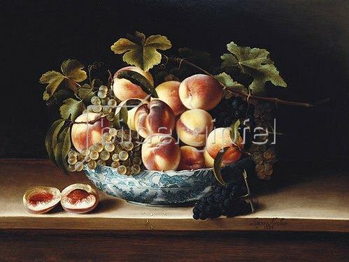 Louise Moillon: Pfirsiche und Trauben in einer blau-weissen Schale. 1634