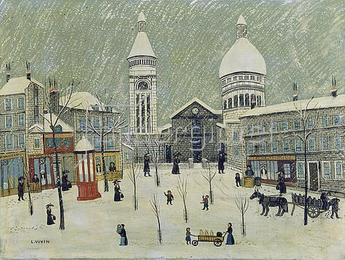 Louis Vivin: Place du Tertre im Winter.