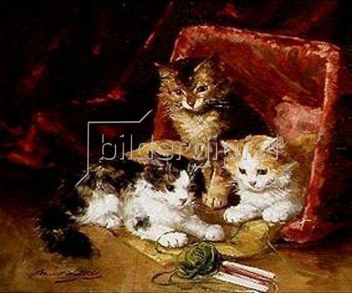 Arthur A Brunel-Neuville: Katzen spielen mit einem Wolleknäuel.