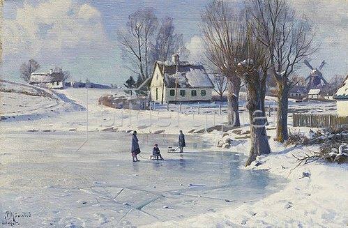 Peder Moensted: Auf dem zugefrorenen Dorfteich (Lönholt)