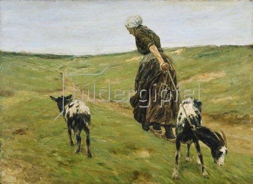 Max Liebermann: Frau mit Geißen in den Dünen. 1890