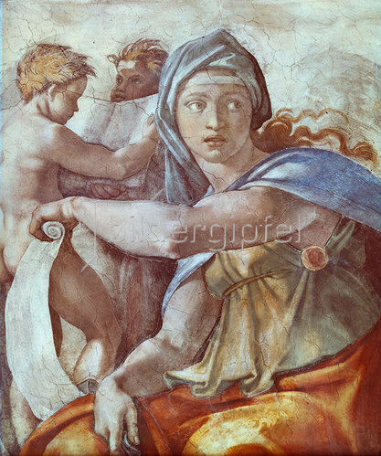 Michelangelo: Deckengemälde der Sixtinischen Kapelle: Die Delphische Sybille.