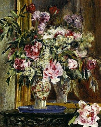 Auguste Renoir: Blumenstilleben vor dem Spiegel. 1871