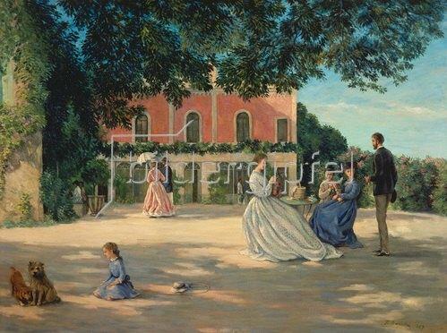 Frédéric Bazille: Familientreffen auf der Terrasse. 1867.